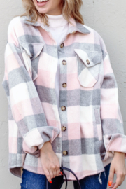 And the Why Plaid Flannel Shirt Jacket - Front cropped