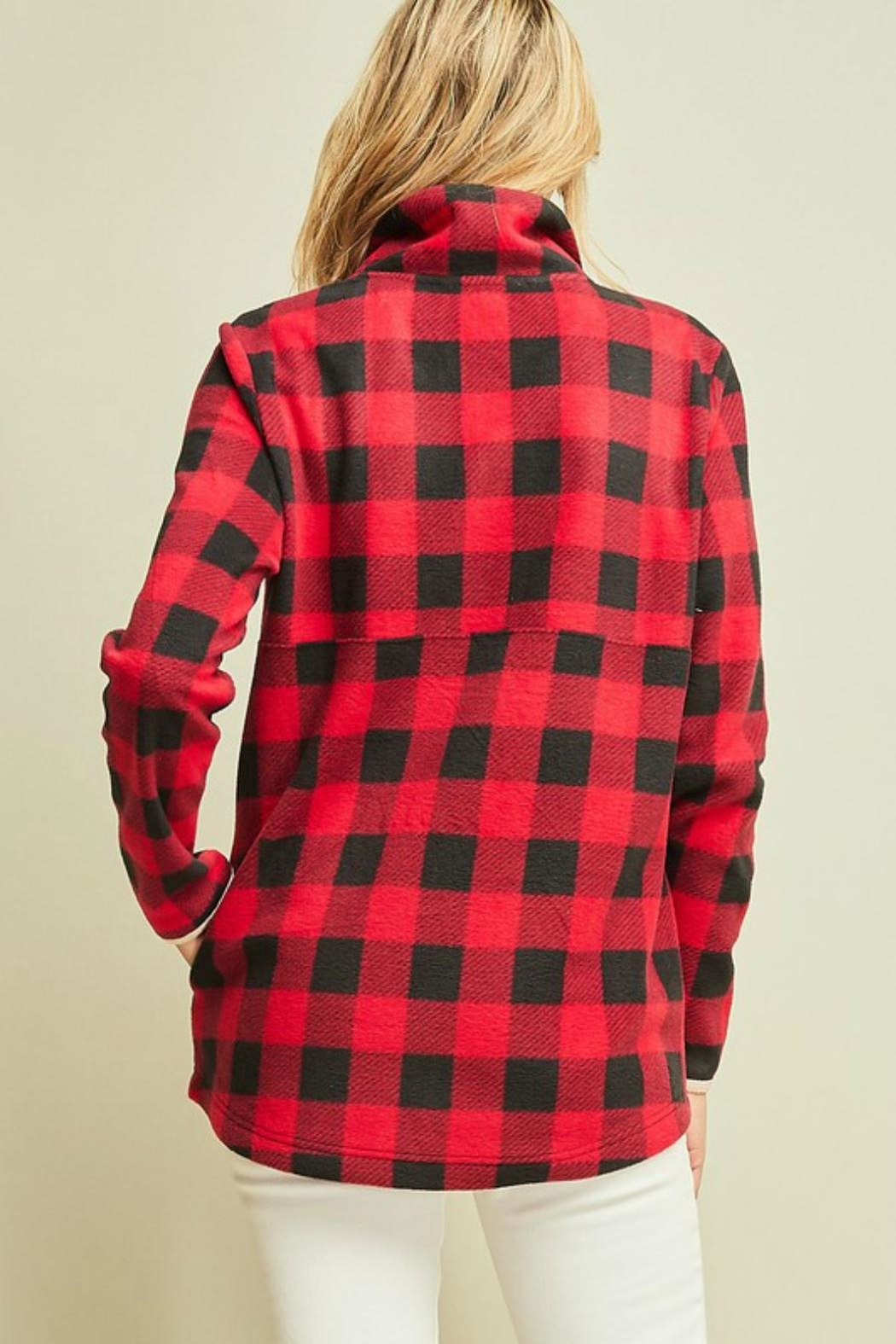 Pretty Little Things Plaid Fleece Pullover - Front Full Image