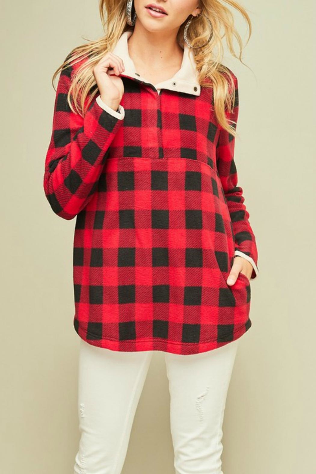 Pretty Little Things Plaid Fleece Pullover - Main Image