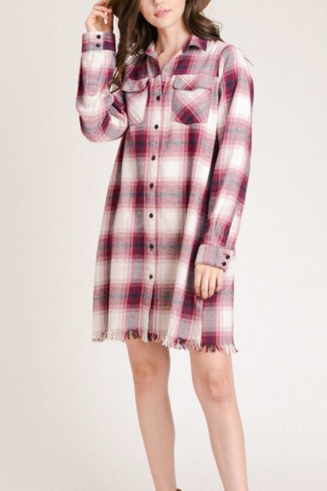 Hem & Thread Plaid Fringe Dress - Front Full Image