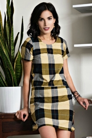 Mata Traders Plaid Goldenrod Dress - Front cropped