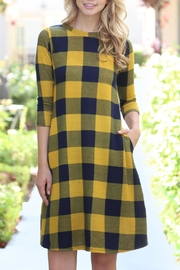 Riah Fashion Plaid/hacci Pocket Dress - Product Mini Image