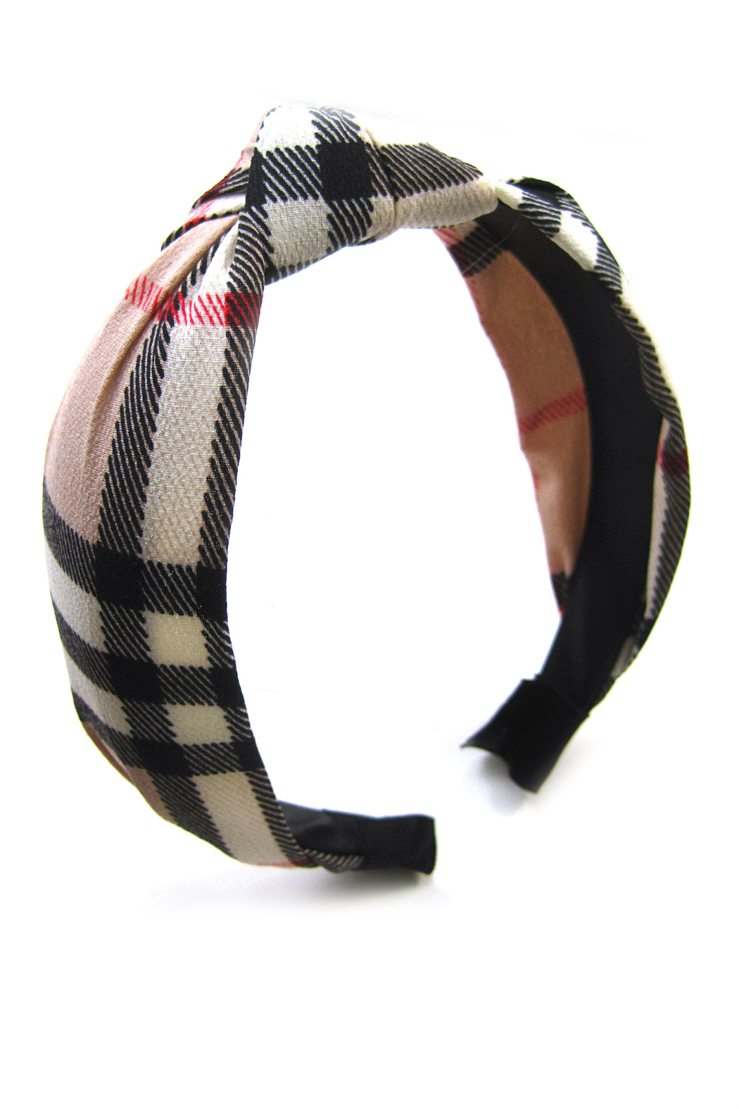 Fox Village Plaid Headband - Front Cropped Image