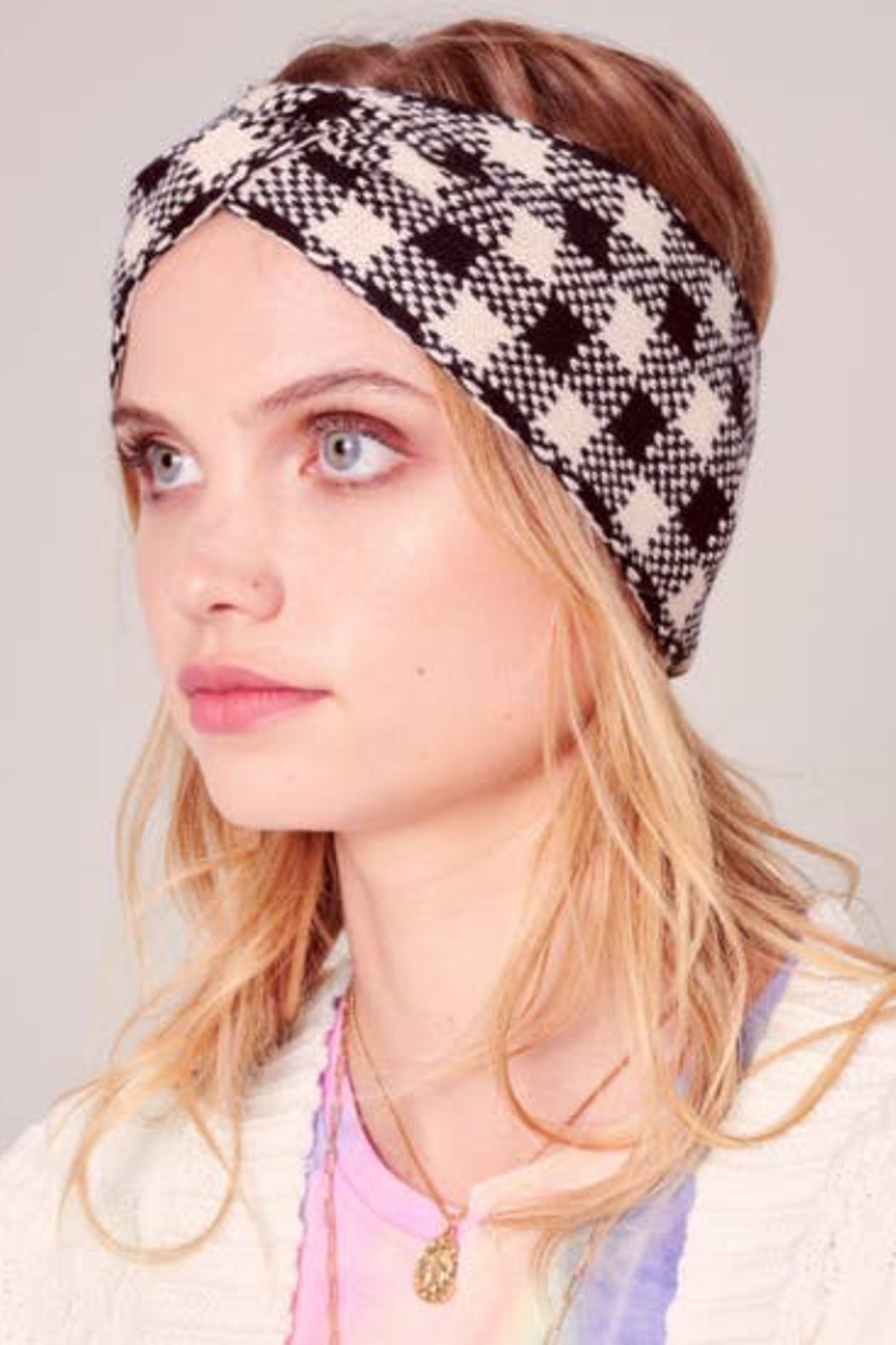 avenue zoe  Plaid Headband - Front Cropped Image