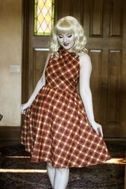 Retrolicious Plaid High-Neck Dress - Product Mini Image