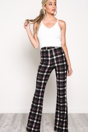 blue blush Plaid Highwaisted Pants - Front cropped