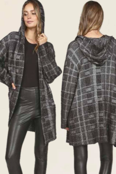 Shoptiques Product: Plaid Hooded Cardigan Sweater