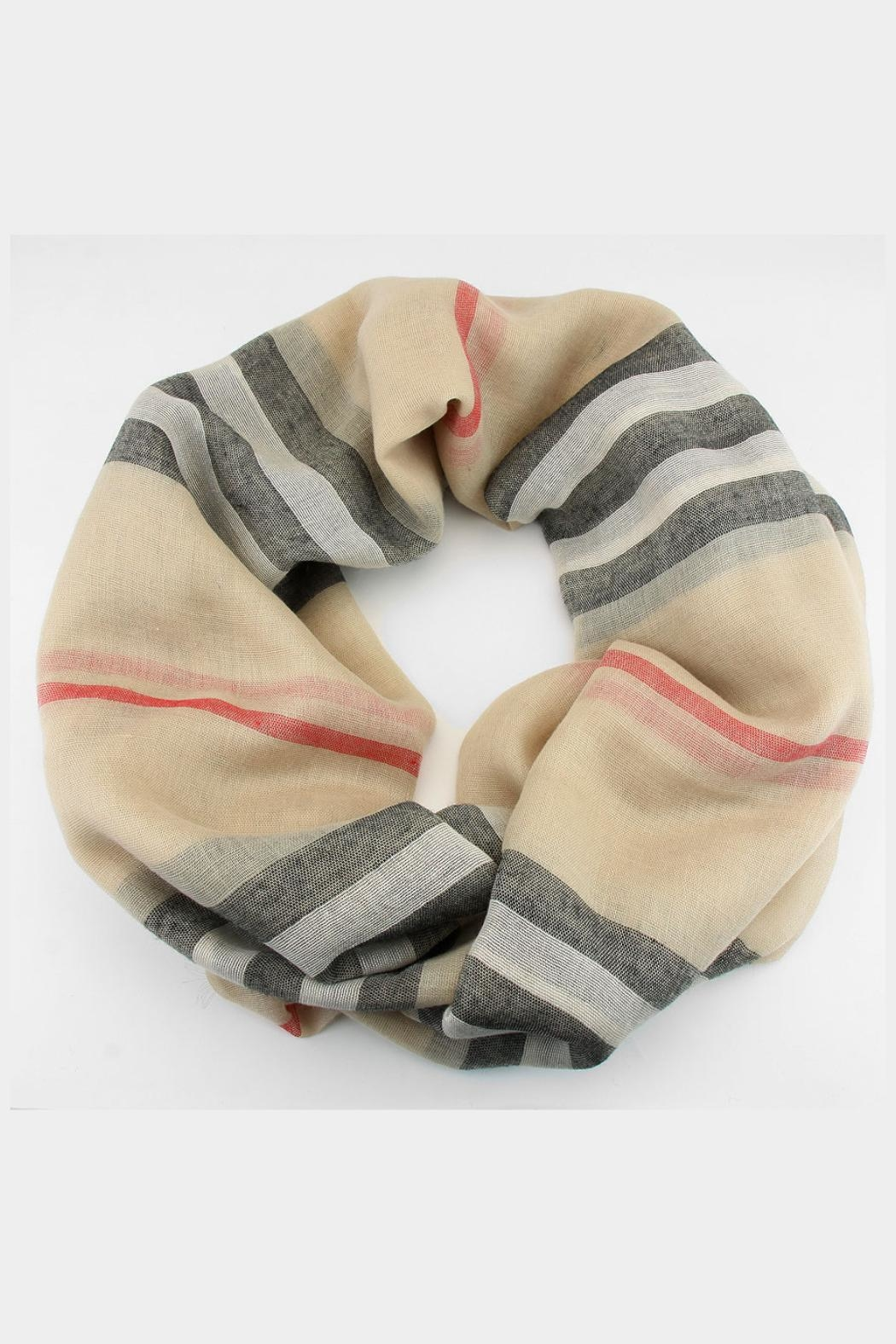 Embellish Plaid Infinity Scarf - Front Full Image
