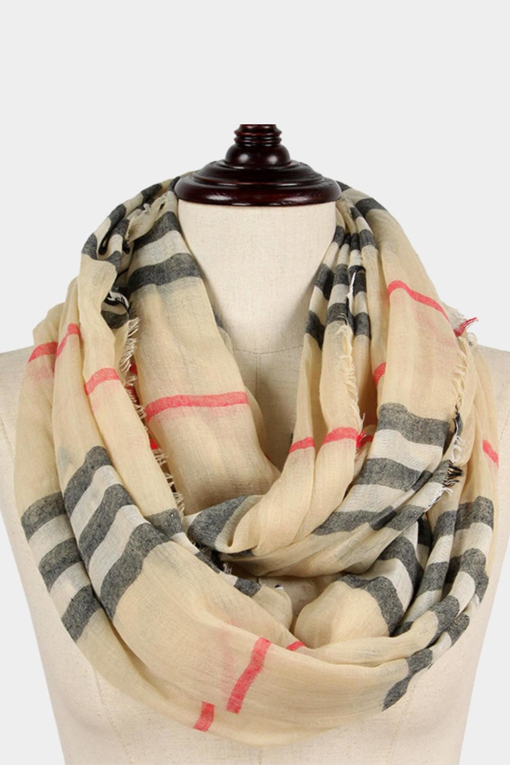 Embellish Plaid Infinity Scarf - Main Image