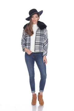 Sisters Knits Plaid Jacket w/Fur Collar - Product List Image
