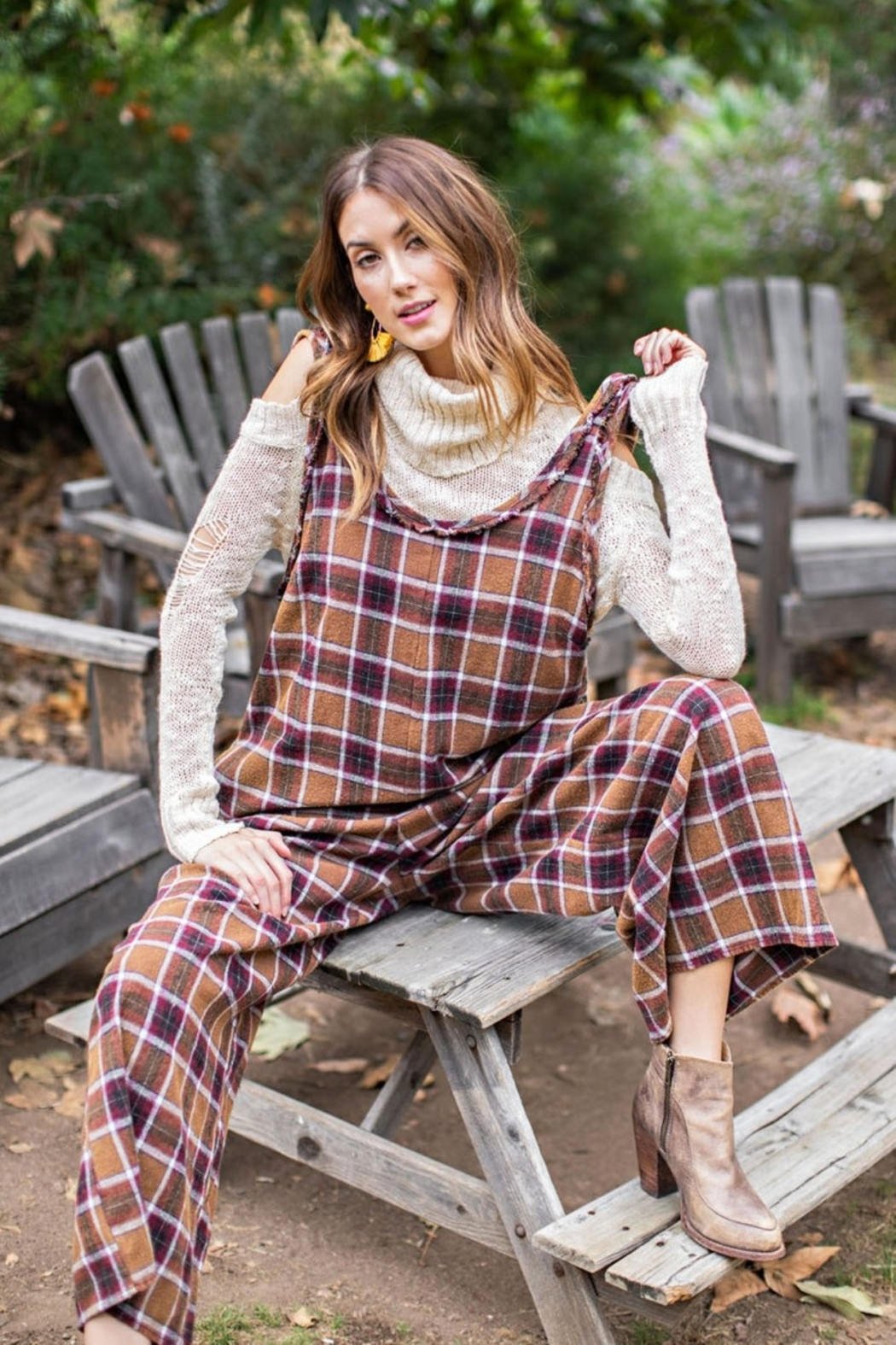 Easel  Plaid Jumpsuit - Front Cropped Image