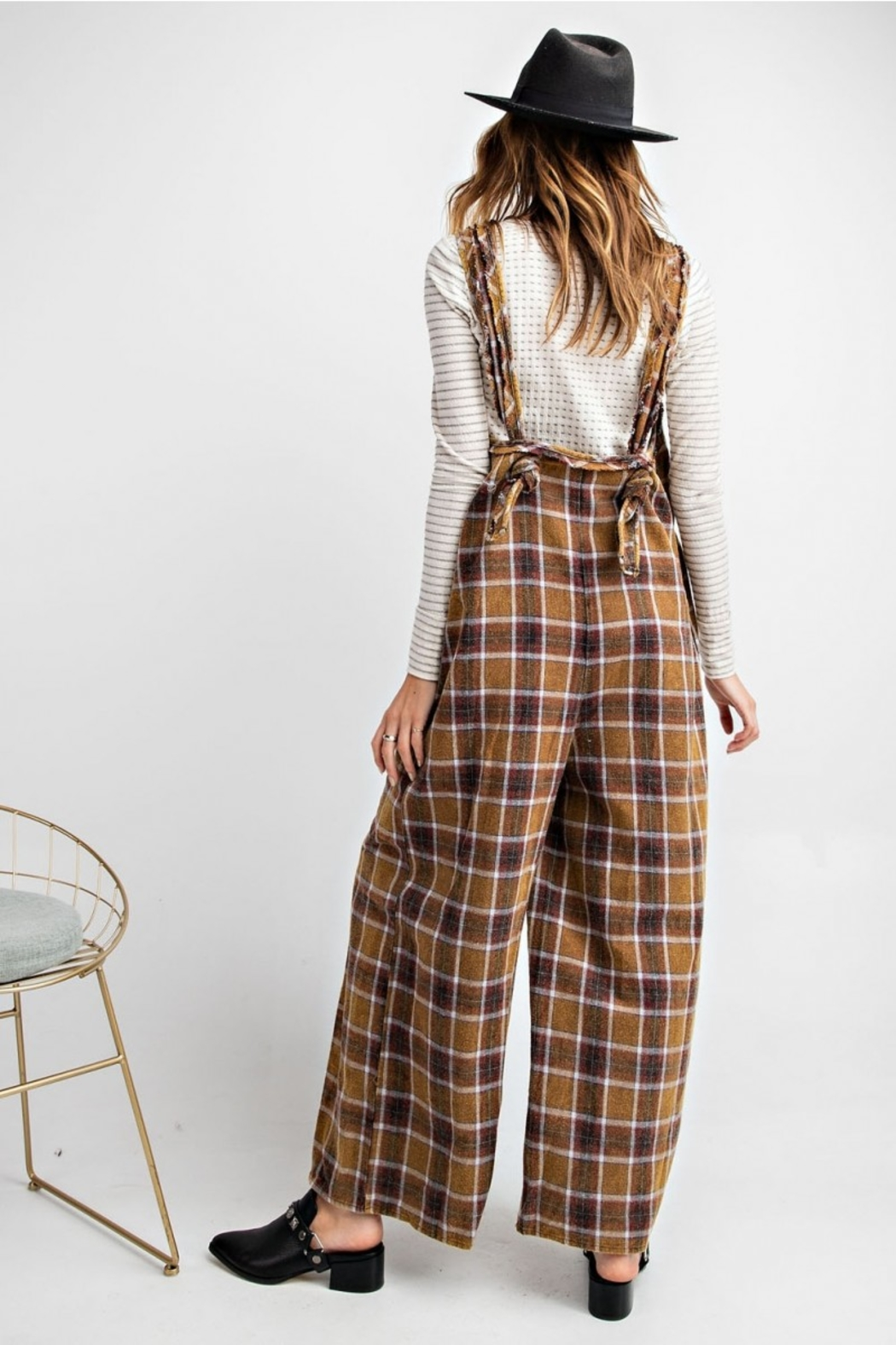 Easel  Plaid Jumpsuit - Back Cropped Image