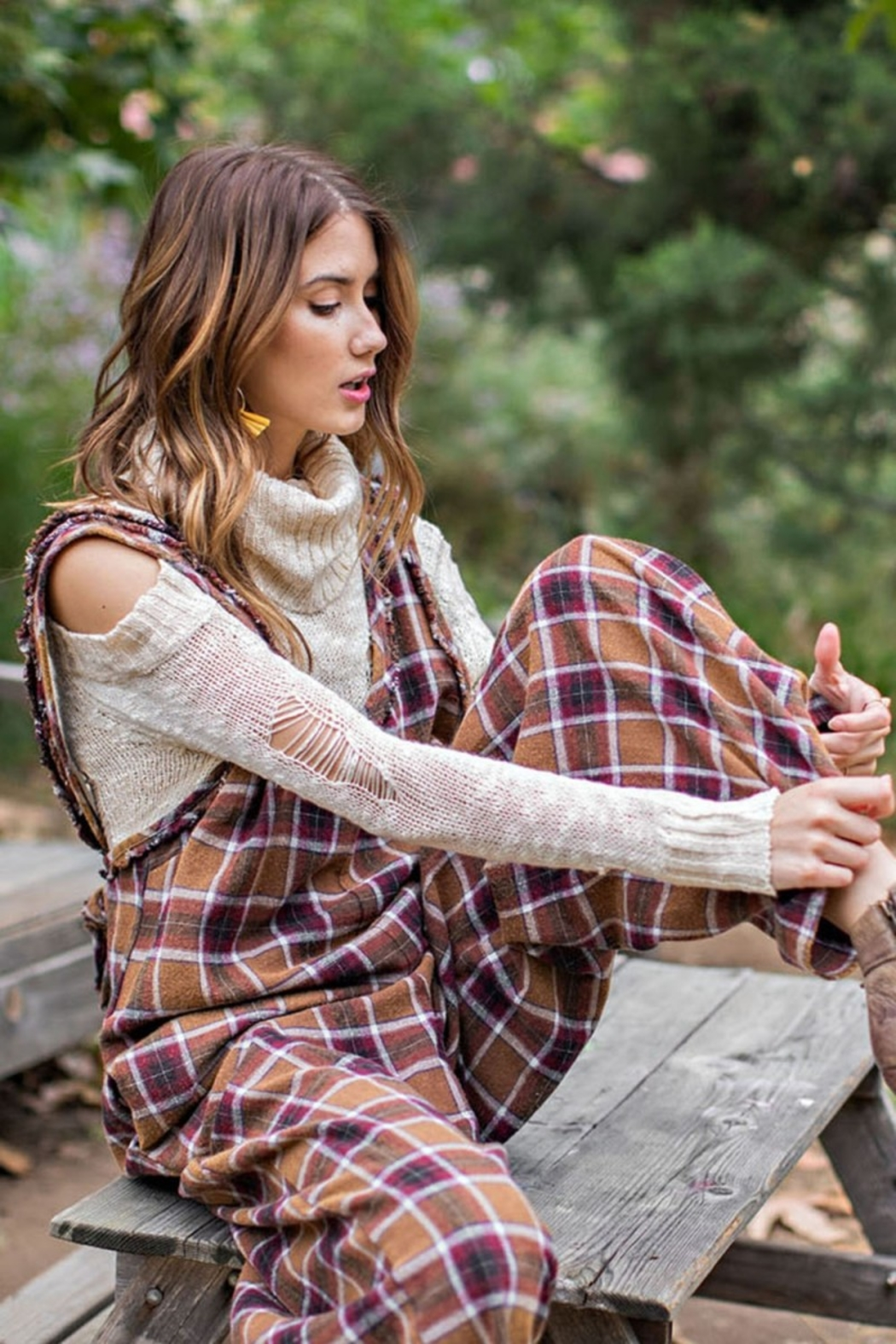 Easel  Plaid Jumpsuit - Front Full Image