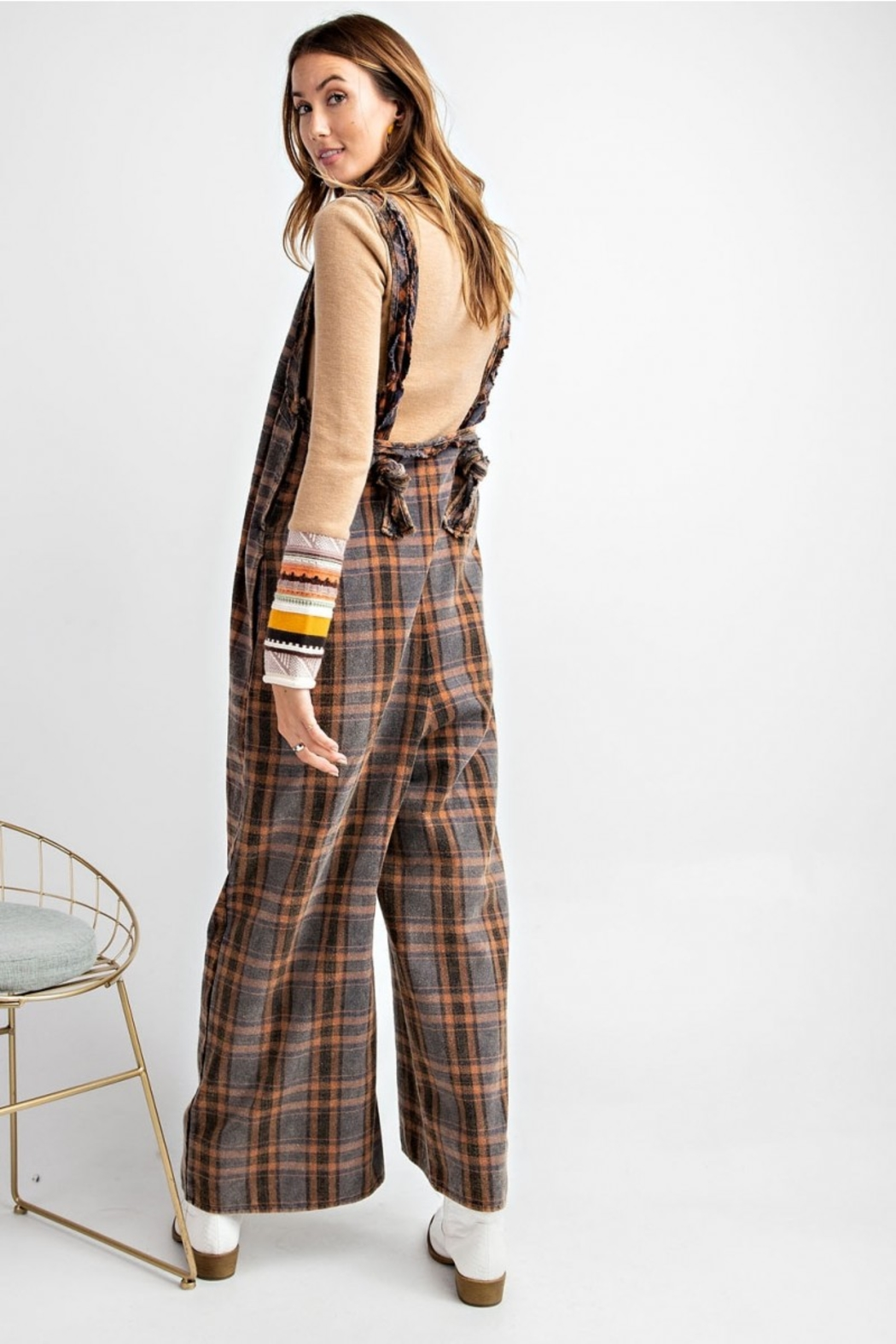 Easel  Plaid Jumpsuit - Side Cropped Image