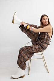Easel  Plaid Jumpsuit - Front full body