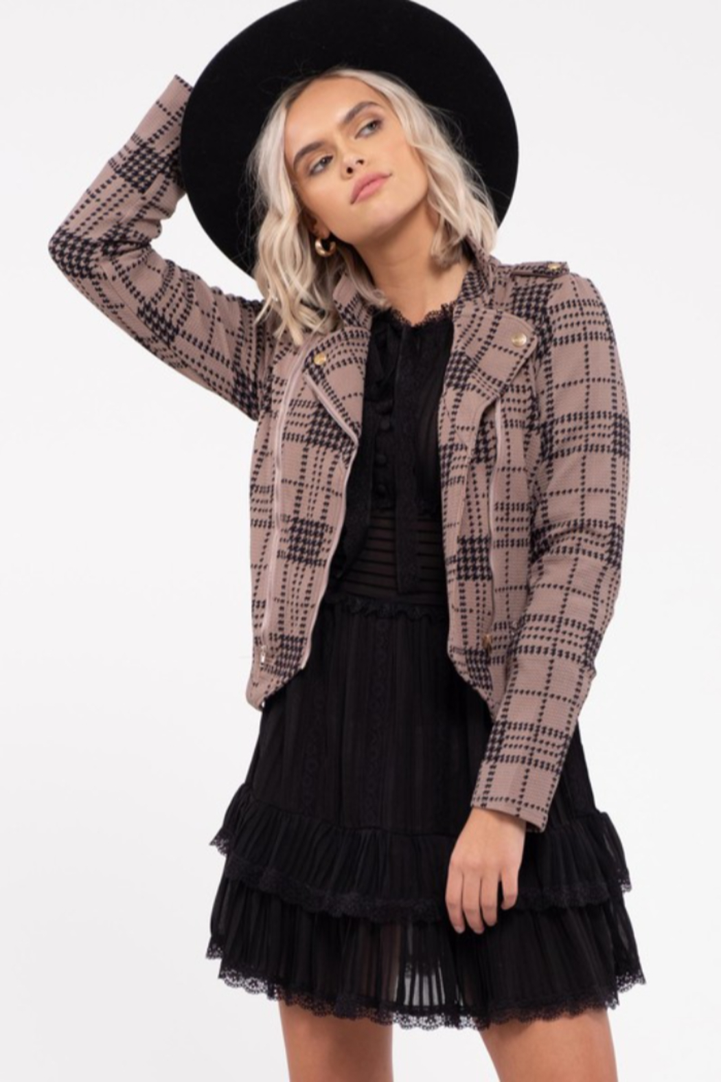 blu Pepper  Plaid Knit  Moto Jacket - Front Cropped Image