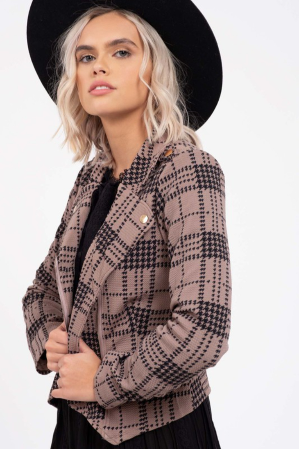 blu Pepper  Plaid Knit  Moto Jacket - Front Full Image