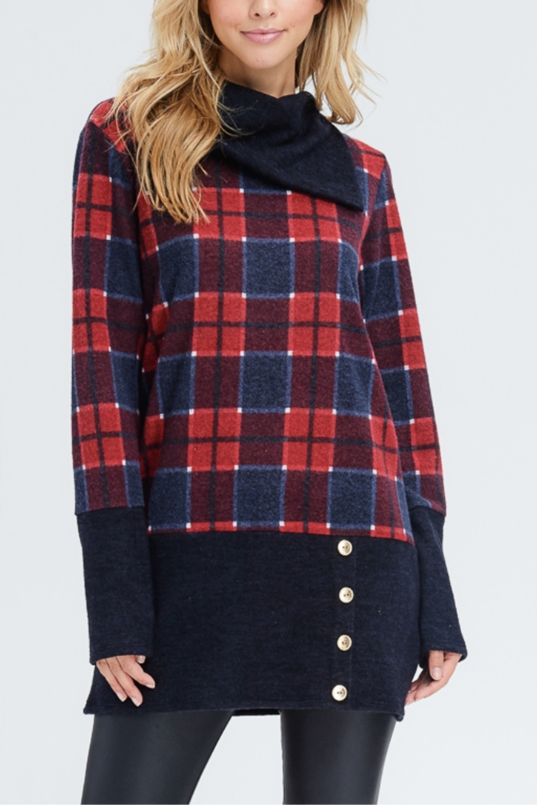 White Birch  Plaid Knit Sweater - Front Cropped Image