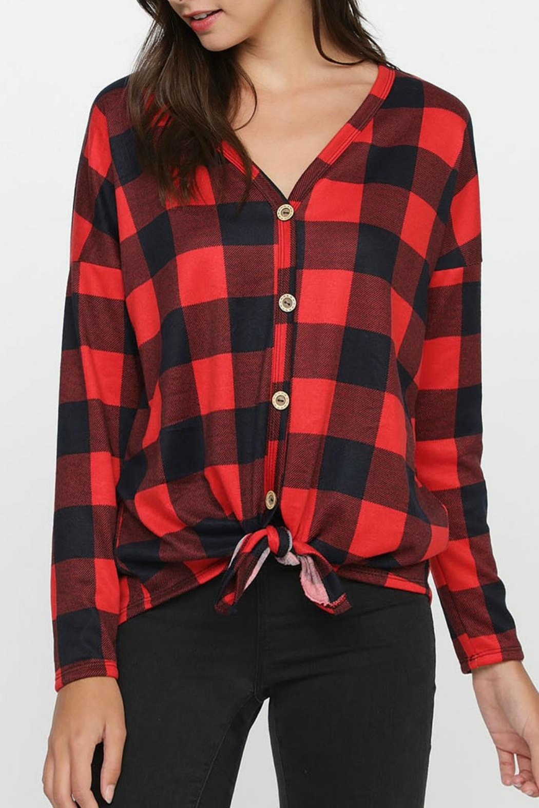 Pretty Little Things Plaid Knit Top - Main Image