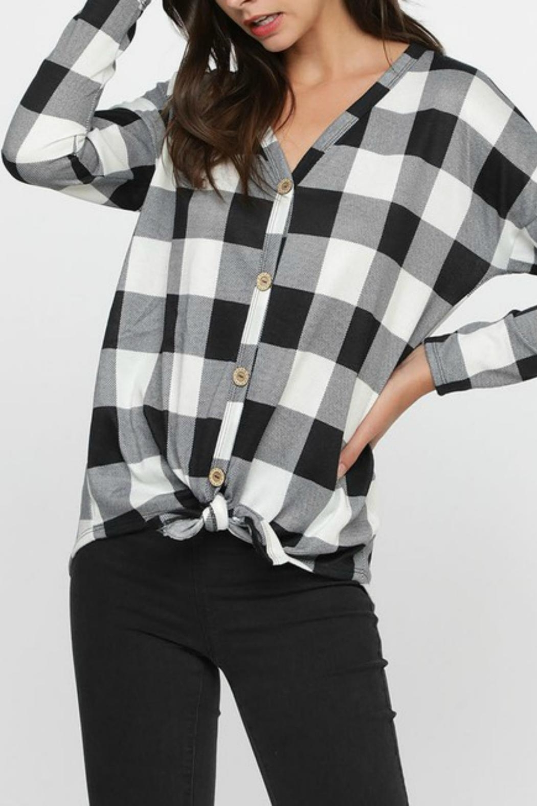 Pretty Little Things Plaid Knit Top - Front Cropped Image