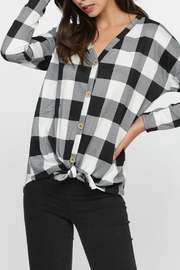 Pretty Little Things Plaid Knit Top - Front cropped
