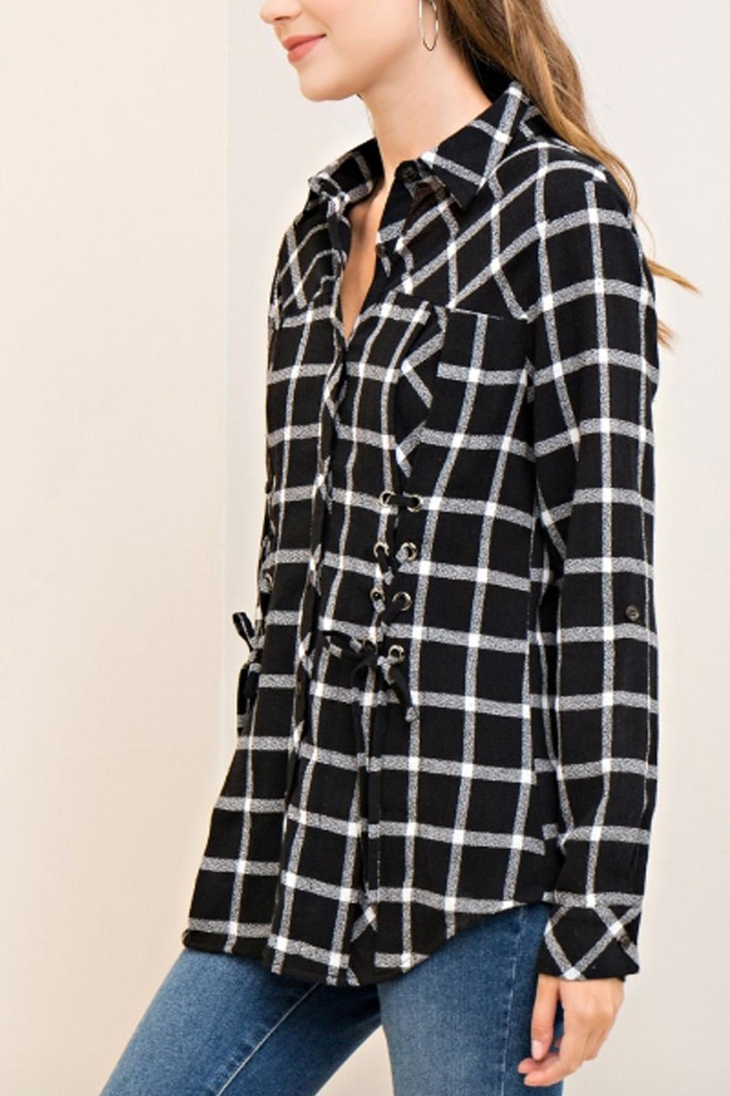 Entro Plaid Lace-Up Top - Front Full Image