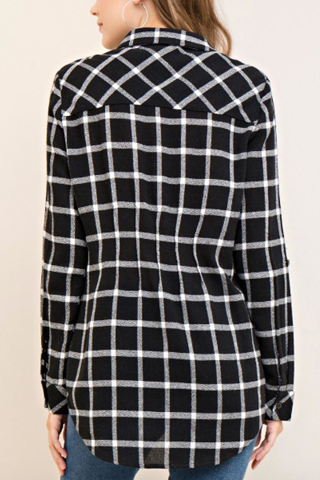 Entro Plaid Lace-Up Top - Back Cropped Image