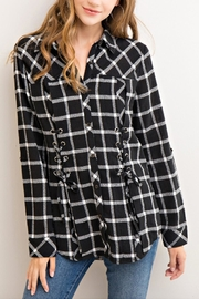 Entro Plaid Lace-Up Top - Product Mini Image