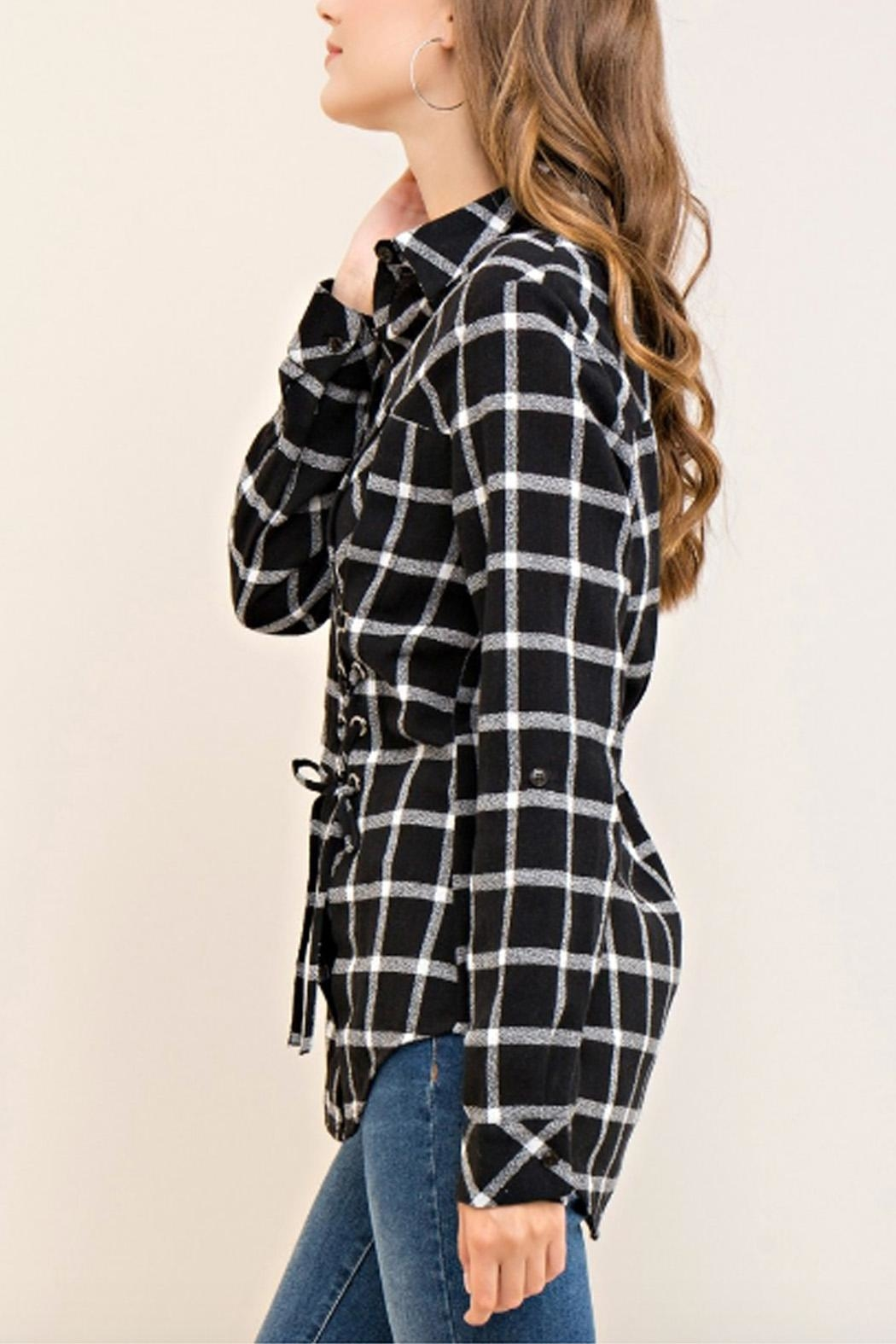 Entro Plaid Lace-Up Top - Side Cropped Image