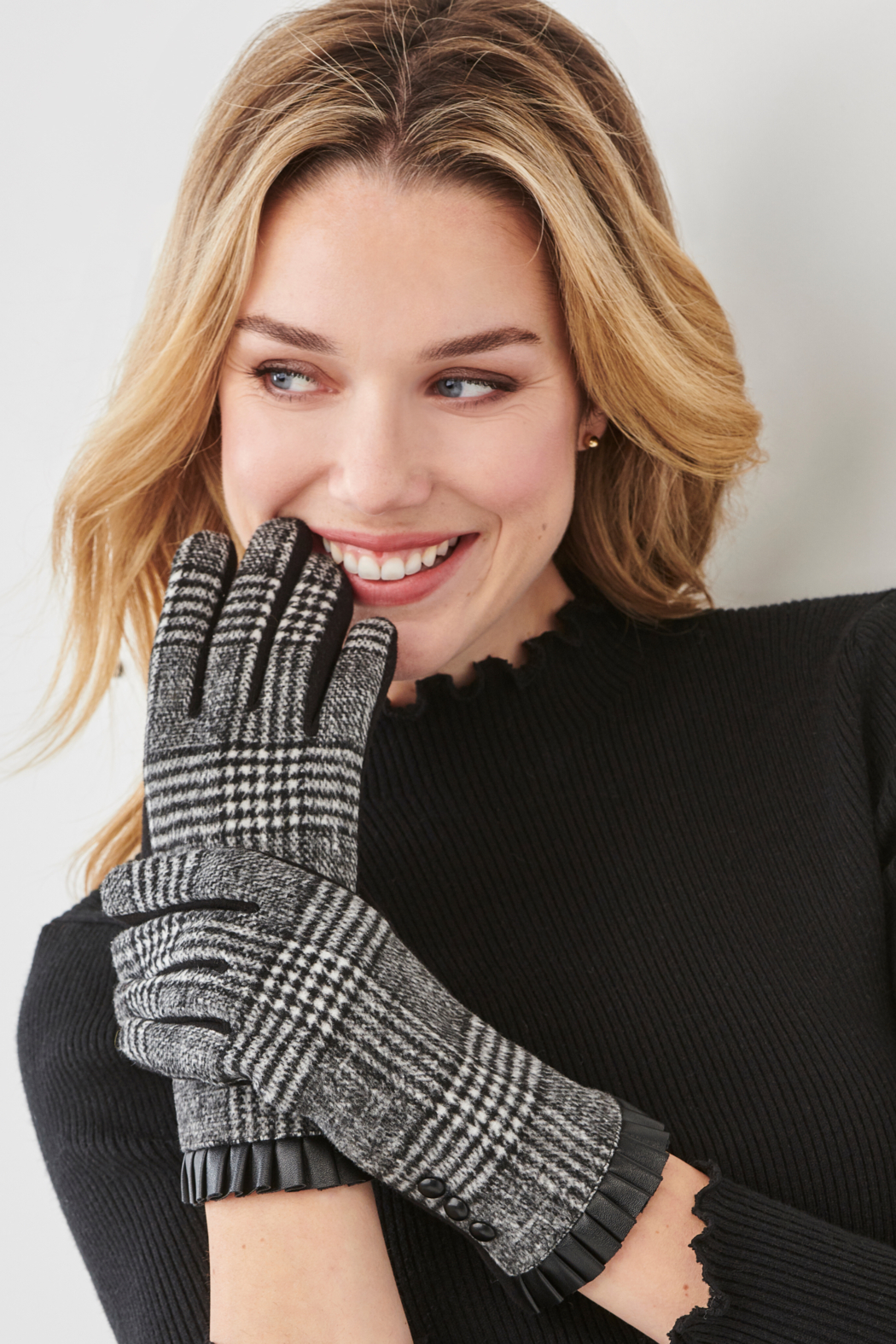 Charlie Paige Plaid & Leather Gloves - Front Full Image