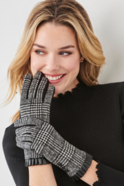 Charlie Paige Plaid & Leather Gloves - Front full body