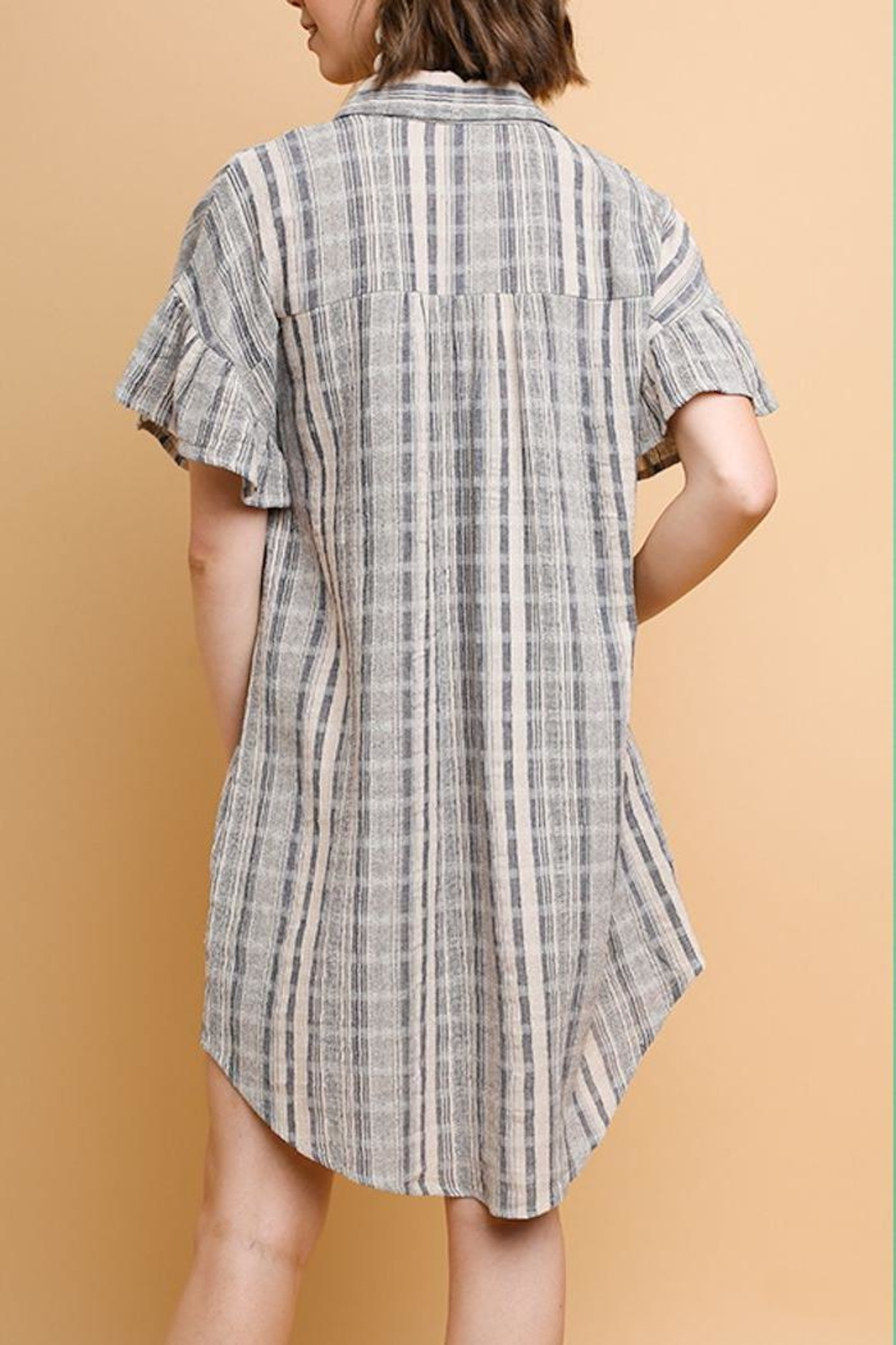 Umgee USA Plaid Linen Dress - Front Full Image