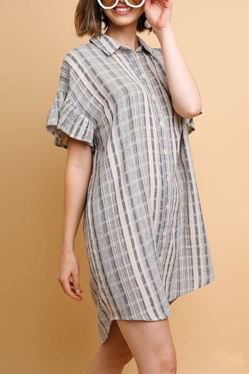 Umgee USA Plaid Linen Dress - Front Cropped Image