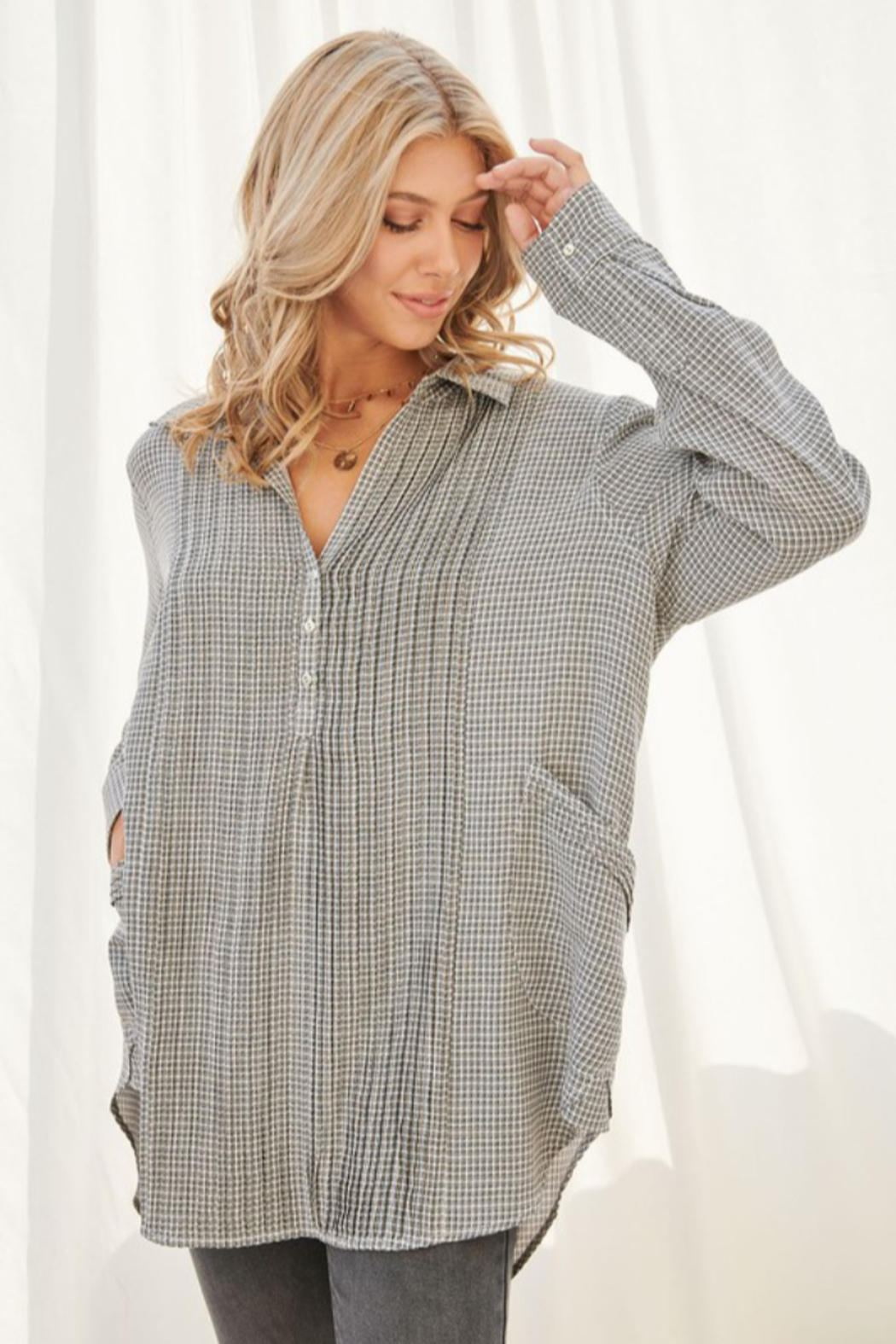 FSL Apparel Plaid Long Sleeve Collared Top - Main Image