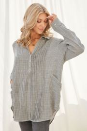 FSL Apparel Plaid Long Sleeve Collared Top - Front cropped