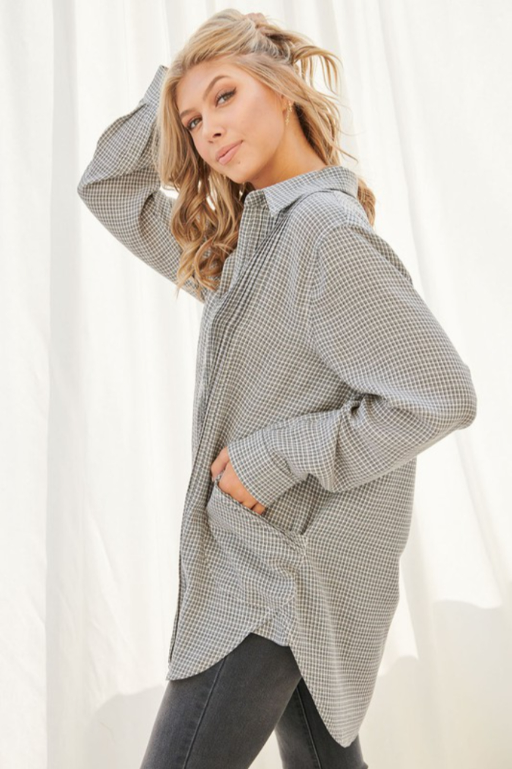 FSL Apparel Plaid Long Sleeve Collared Top - Front Full Image