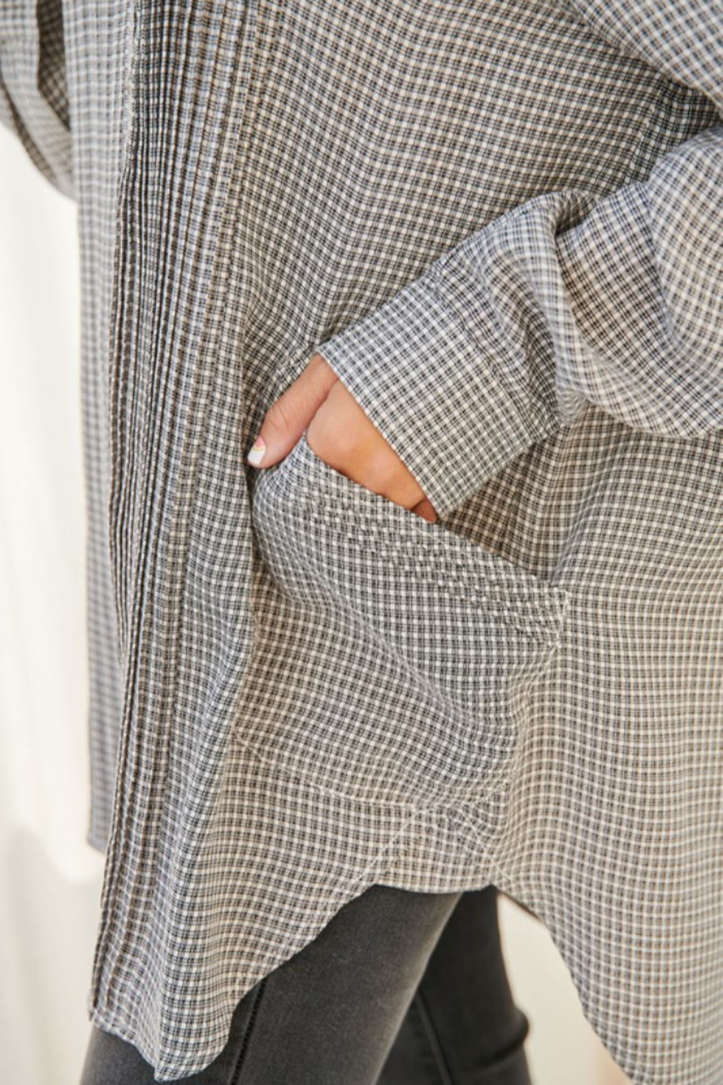 FSL Apparel Plaid Long Sleeve Collared Top - Back Cropped Image