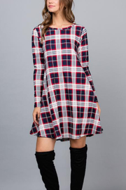 Acting Pro Plaid Long Sleeve Dress - Product Mini Image