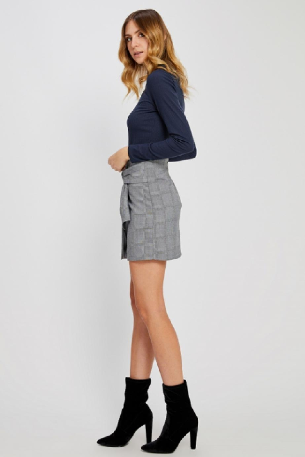 Gentle Fawn Plaid Mini Skirt - Front Full Image