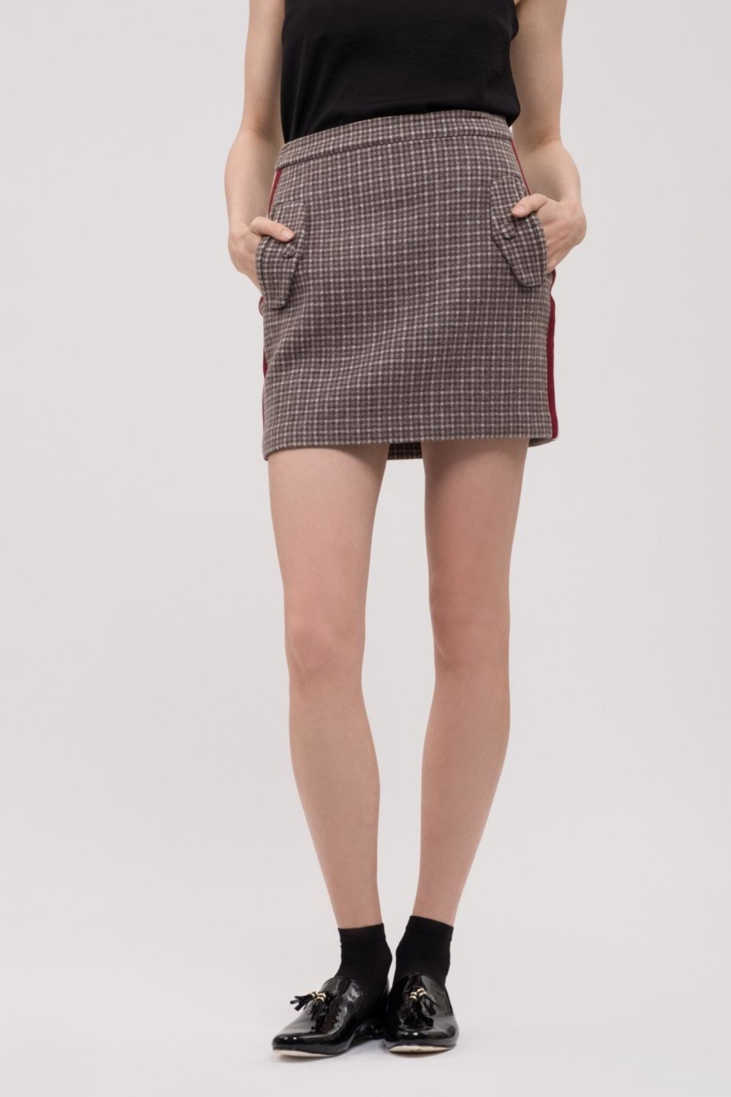 J.O.A. Plaid Mini Skirt - Front Full Image