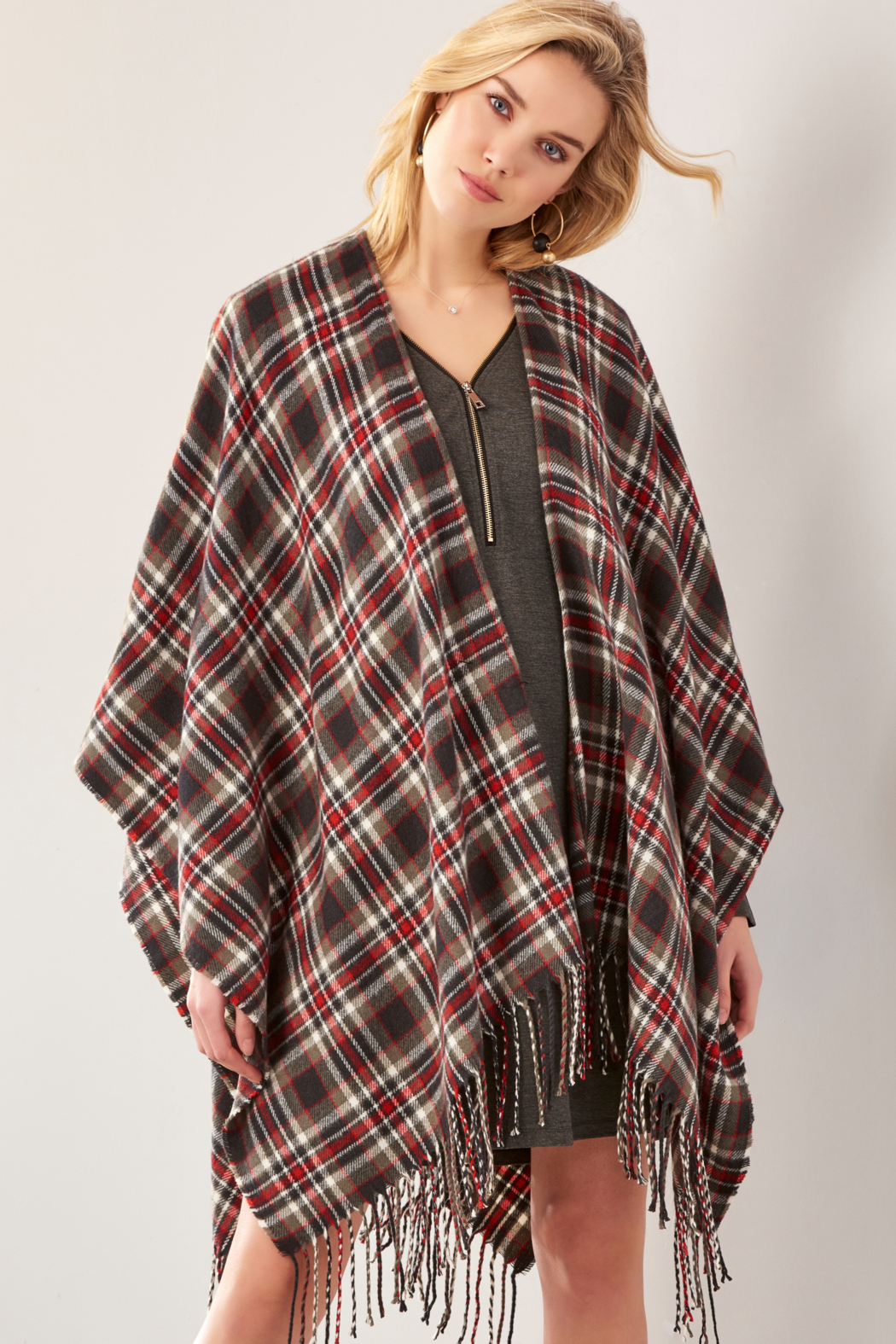 Giftcraft Inc.  Plaid Open Front Cape - Main Image