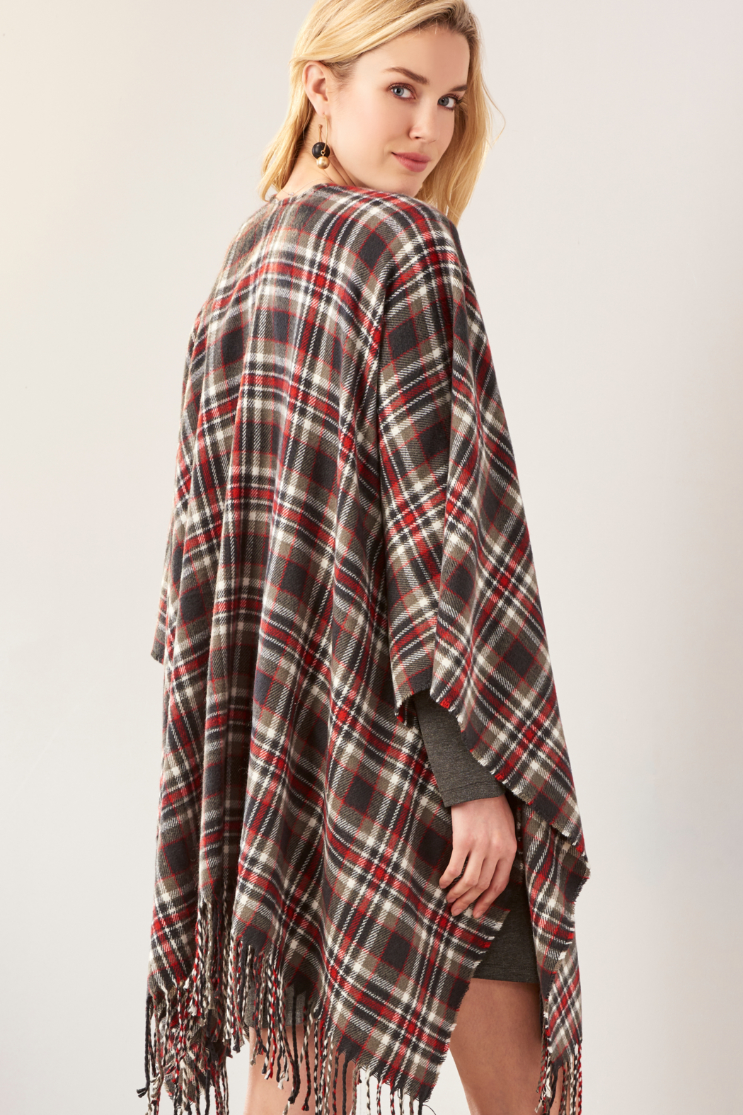 Giftcraft Inc.  Plaid Open Front Cape - Side Cropped Image