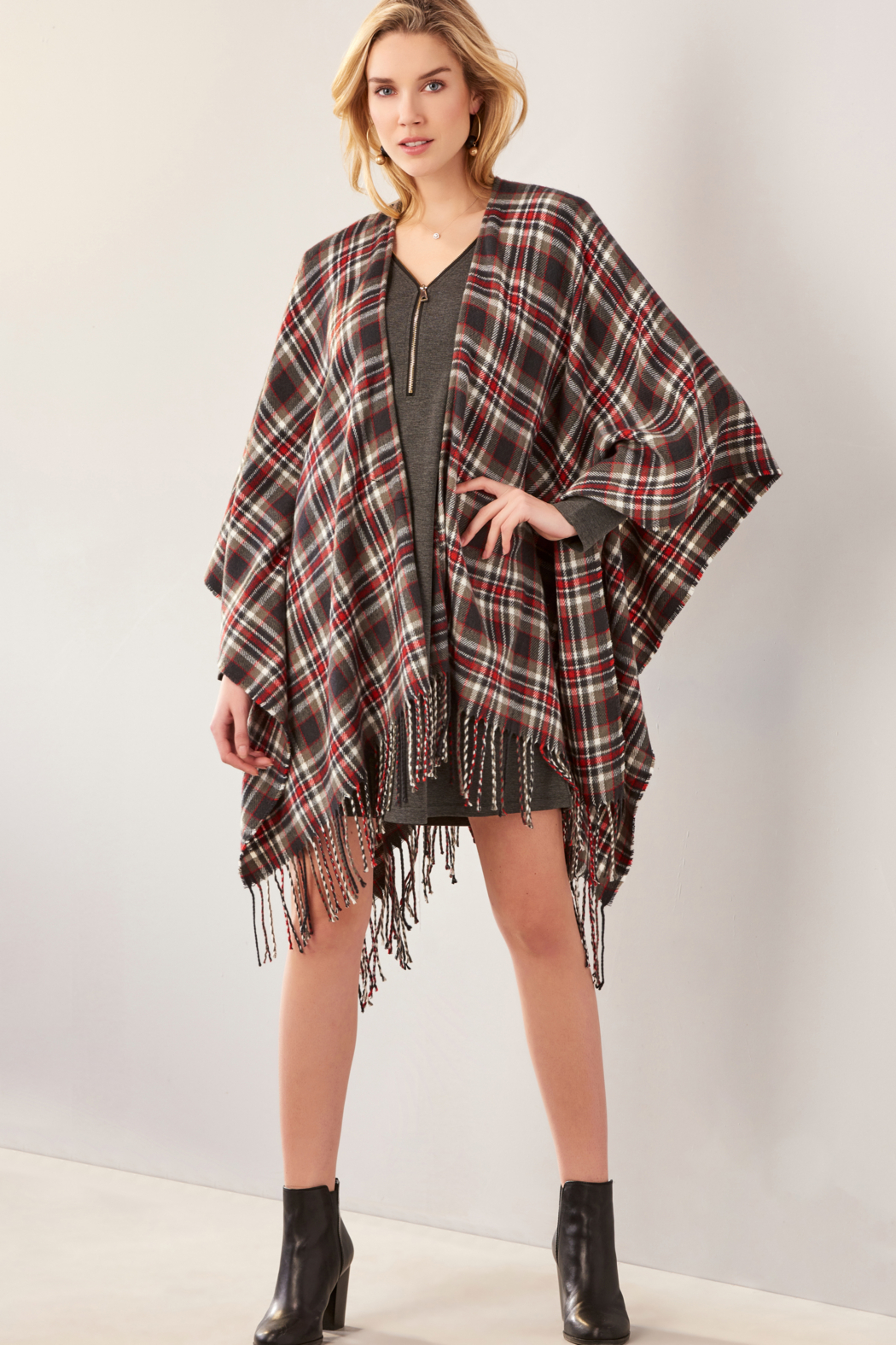 Giftcraft Inc.  Plaid Open Front Cape - Front Full Image