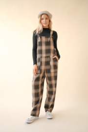 Hem & Thread  Plaid Overall Jumpsuit - Front cropped