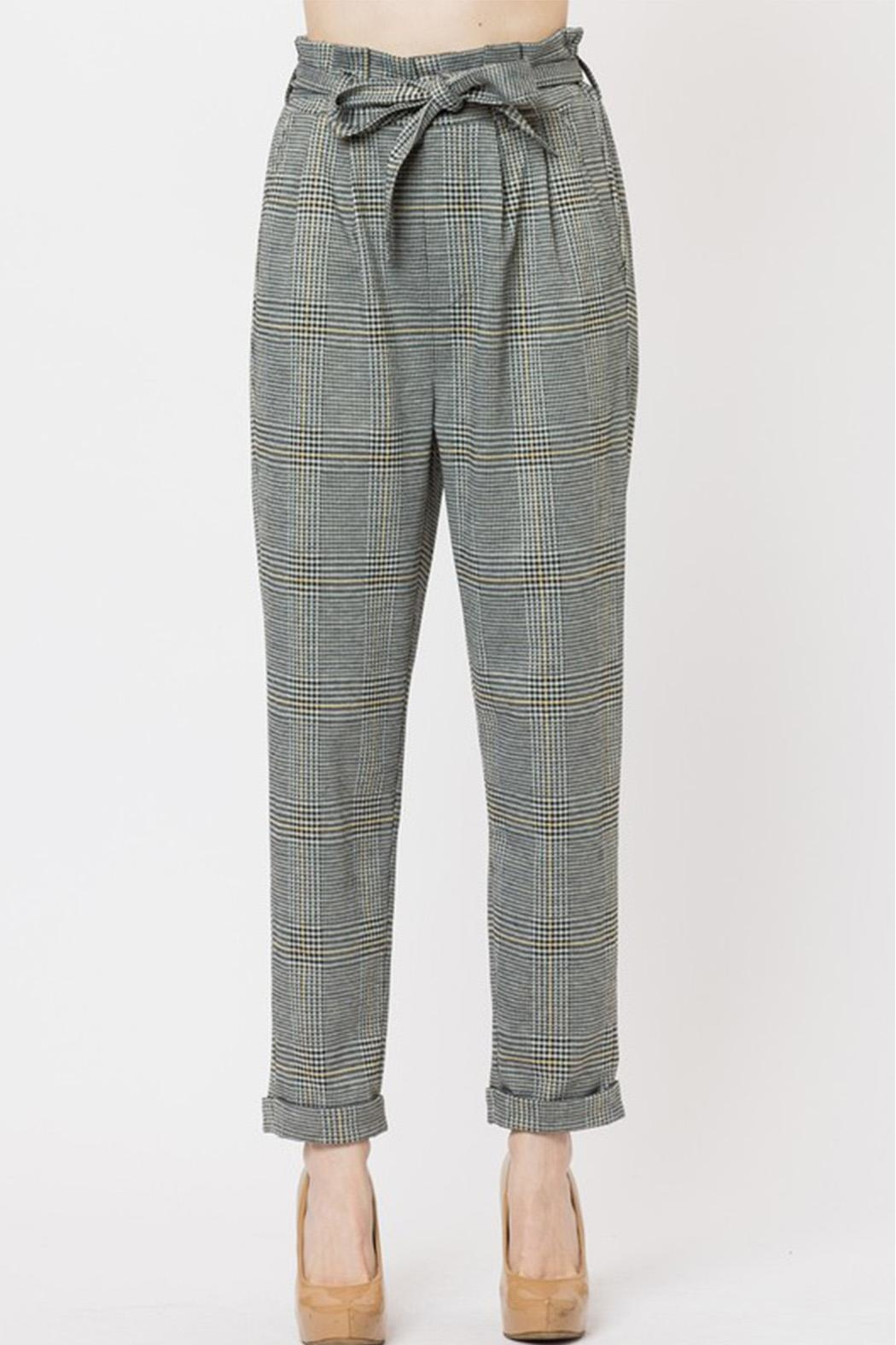 Love Tree Plaid Pants - Front Cropped Image