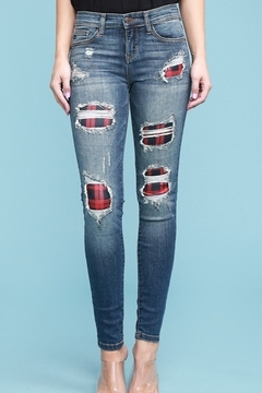 Judy Blue PLAID PATCH DESTROYED SKINNY JEANS - Product List Image