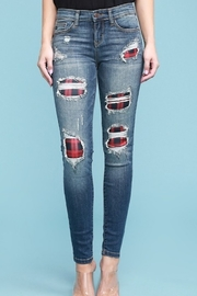 Judy Blue PLAID PATCH DESTROYED SKINNY JEANS - Product Mini Image
