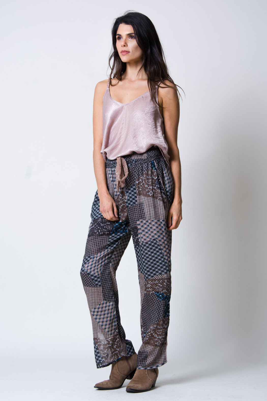 wanderlux  Plaid Patchwork Pant - Side Cropped Image