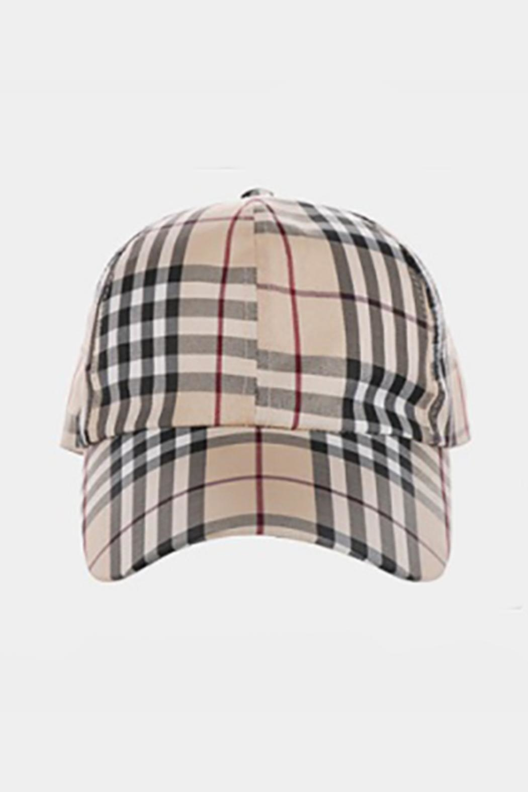 Embellish Plaid Pattern Hat - Front Full Image