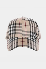 Embellish Plaid Pattern Hat - Front full body